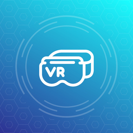 virtual reality headset line icon, VR glasses vector pictogram