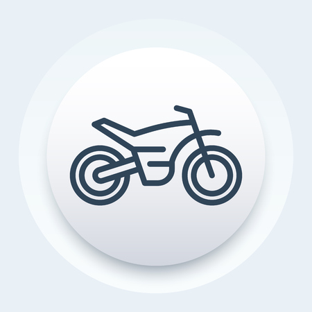 offroad bike, motorcycle, motocross line icon, vector illustration