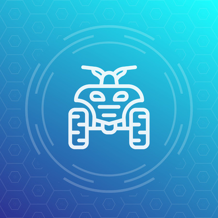 dirt bike: quad bike line icon, ATV, quadricycle vector pictogram Illustration