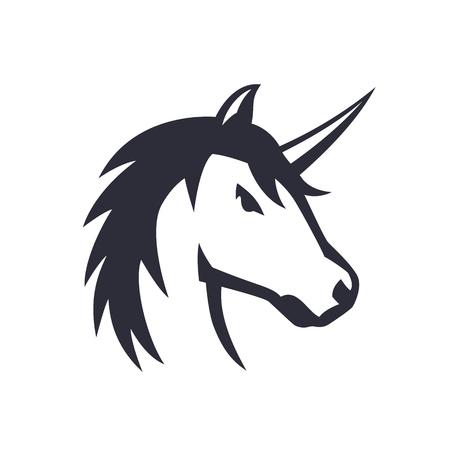 unicorn logo element over white, vector illustration