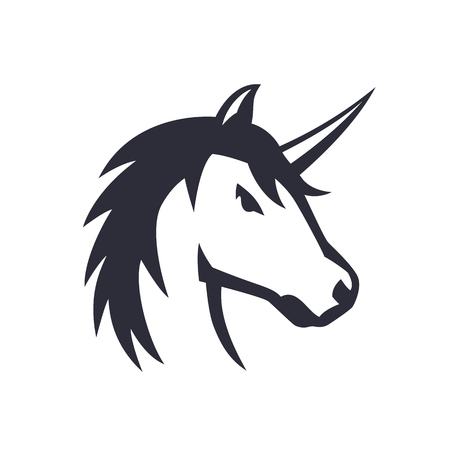 unicorn logo element over white, vector illustration