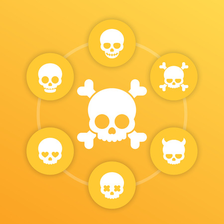 fiend: skulls icons, bones, fiend, heart-shaped eyes, in love, smiling skull, pictograms on yellow Illustration
