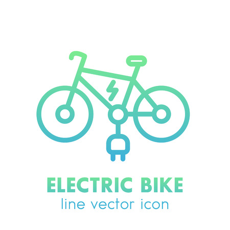 Elektrische fiets icoon in lineaire stijl geïsoleerd over white