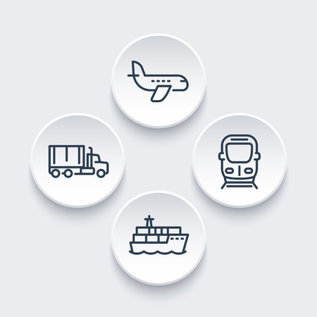 transport icons: transportation industry icons in linear style, air transport, cargo ship, truck, train