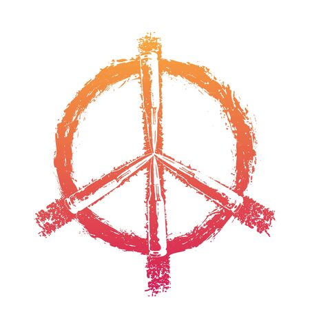 dualistic: Peace sign with bullets, fiery on white, vector illustration