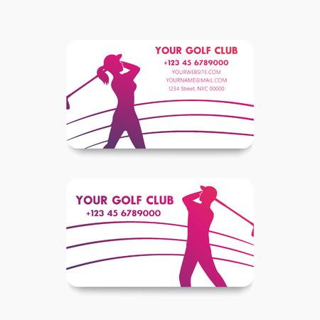 golfer swinging: Business card design for golf club with golfers