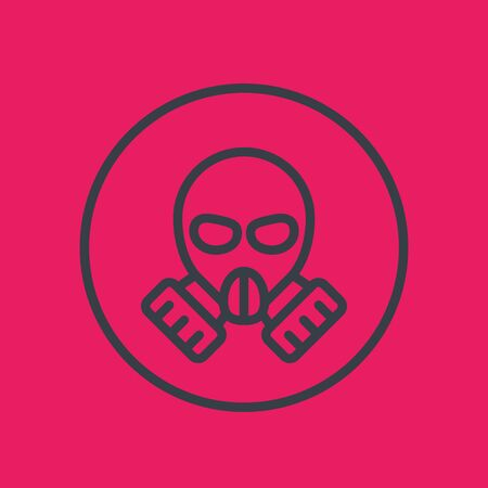 toxicant: gas mask line icon in circle, vector illustration Illustration