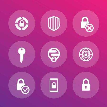 unprotected: Security icons set, secure transaction, online safety, firewall, key, lock, shield Illustration