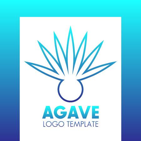 agave: Agave plant logo template, blue outline over white, vector illustration Illustration