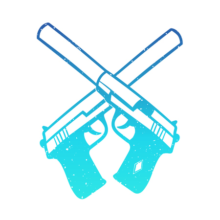 the silencer: hand drawn pistols with silencer, two crossed handguns, vector illustration