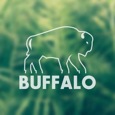 buffalo vector outline for logo design