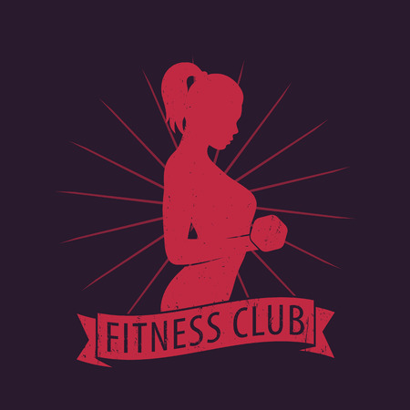 bicep curls: Fitness Club logo with posing athletic girl with dumbbell, vector illustration