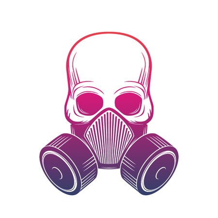 toxicant: skull with respirator, gas mask over white, vector illustration Illustration