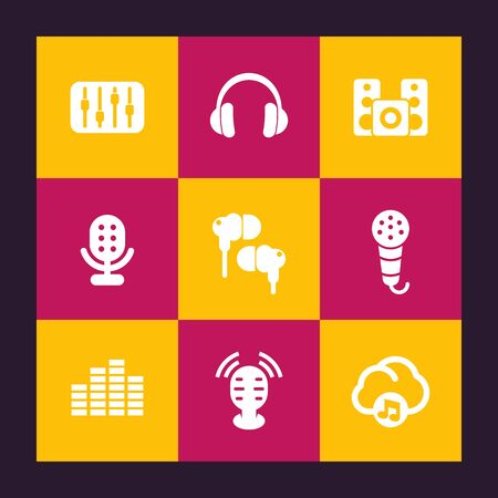 earbuds: audio icons set, equalizer, sound mixing console, music in cloud, earbuds, headphones, microphones, speakers, vector illustration Illustration
