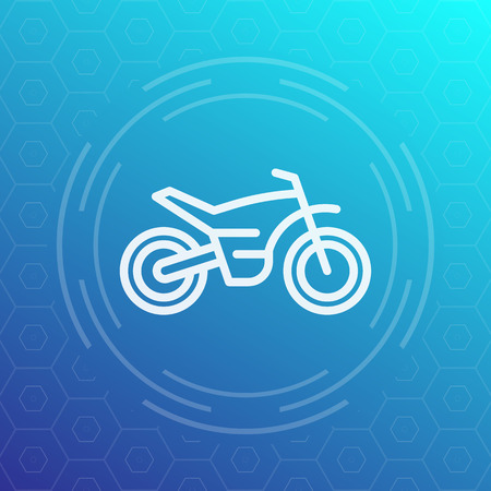 offroad bike, motorcycle icon in linear style Illustration