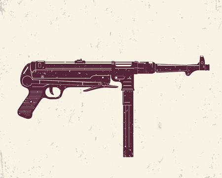 infamous: german submachine gun MP 40, infamous world war 2 firearm, vector illustration