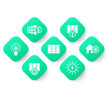 Solar energy, panels, alternative energetics and renewable energy use icons set, green on white, vector illustration