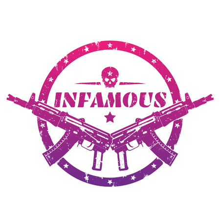 infamous, round print, emblem, badge with automatic guns and skull over white Illustration