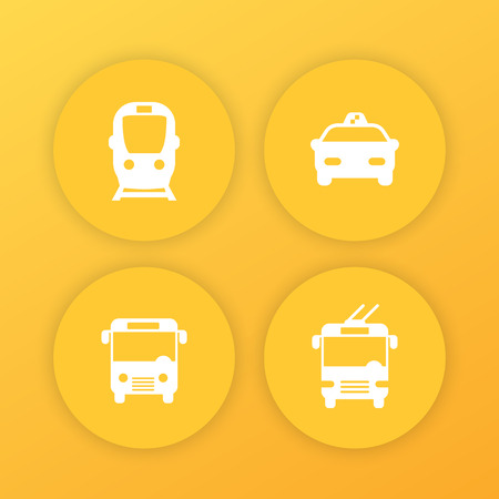 City transport, public transportation round yellow icons with subway, taxi, bus, trolleybus Illustration