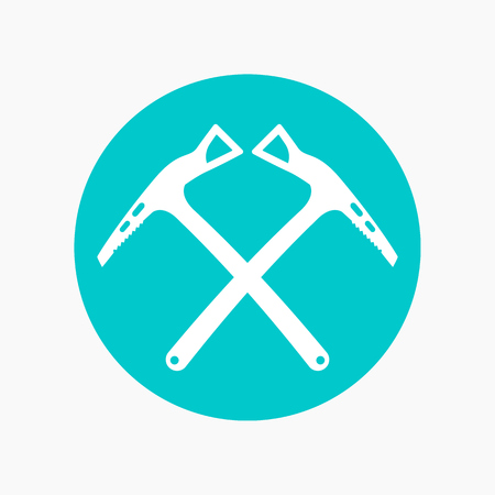 alpinism: climbing axes icon, round pictogram
