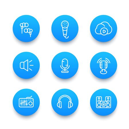 earbuds: audio line icons set, sound mixing, microphones, recording, earbuds, headphones, speakers
