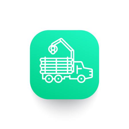 balk: Forwarder line icon, logging truck, forestry vehicle, logger Illustration