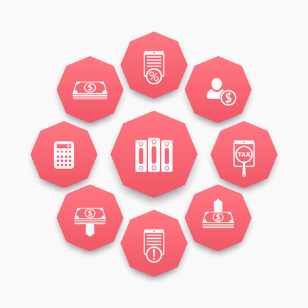 bookkeeping: Bookkeeping, payroll, rates icons set on red octagon shapes Illustration
