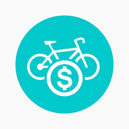rent: rent a bike round icon Illustration