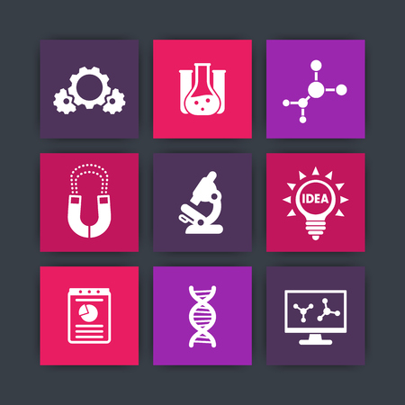 Science, laboratory study icons set, research, microscope, dna chain, lab glass, molecule pictograms