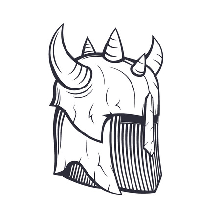 barbaric: warrior helmet with horns isolated on white, vector illustration