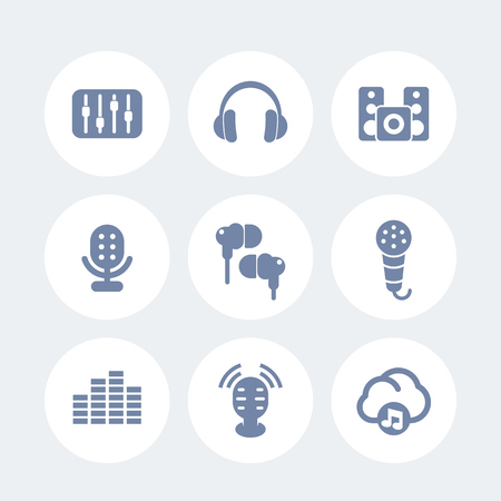 earbuds: audio icons set, earbuds, headphones, microphones, speakers, equalizer, sound mixer