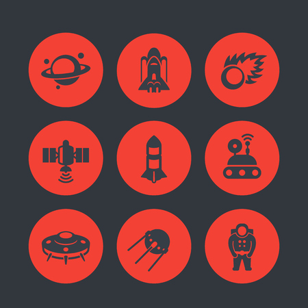 spaceflight: Space icons set, comet, astronaut, UFO, satellite, space probe, shuttle, rocket, planet with asteroid belt