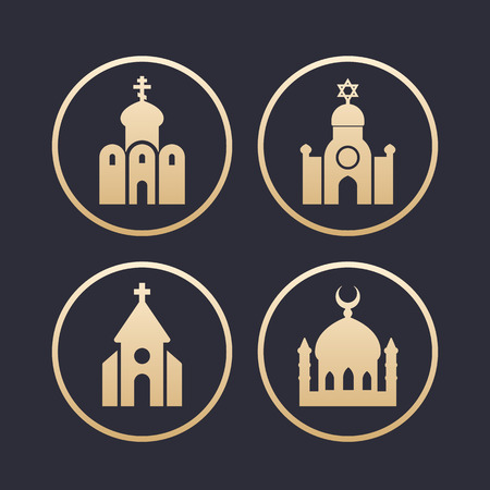 synagogue: religion buildings icons set, mosque, catholic and orthodox church, synagogue, gold on dark Illustration