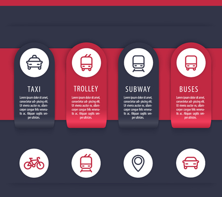 City transport infographics elements, public transportation presentation template, vector illustration