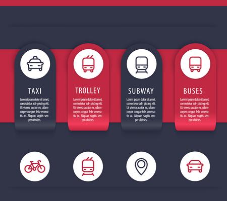 Stadtverkehr Infografiken Elemente, öffentliche Verkehrsmittel Präsentationsvorlage, Vektor-Illustration Standard-Bild - 71392451