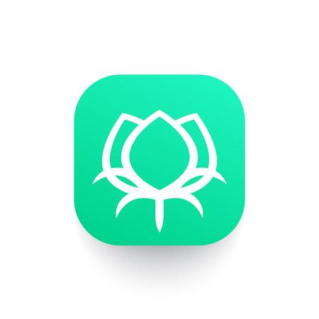 boll: cotton linear icon on green shape Illustration