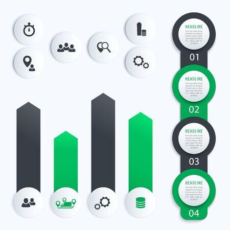 ビジネス infographics のベクトル要素垂直時間軸ラベルと灰色と緑色のグラフにステップ 1、2、3、4、