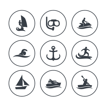 personal watercraft: water sports icons in circles over white, surfing, sailing, diving, swimming