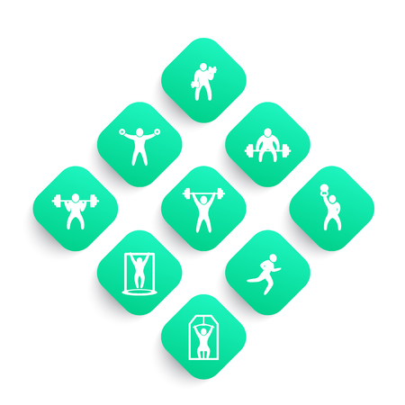 Gym, fitness exercises icons set, workout, training, bodybuilding, weightlifting