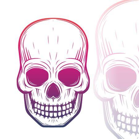 hardcore: skull vector illustration on white