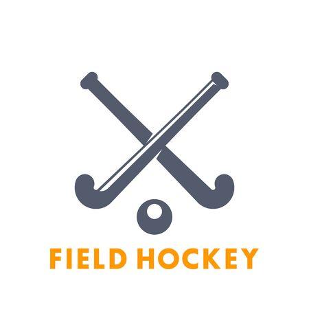 Veldhockey icoon, logo elementen geïsoleerd over wit, vectorillustratie