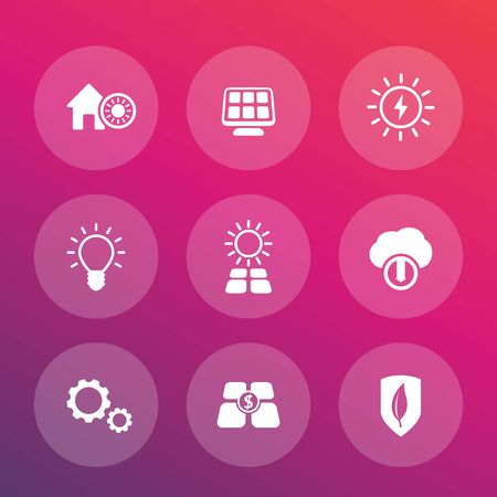 powered: Solar energy vector pictograms, alternative energetics, sun powered house icons set Illustration
