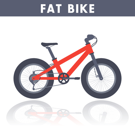 snow tires: Fat bike in flat style over white, vector illustration Illustration