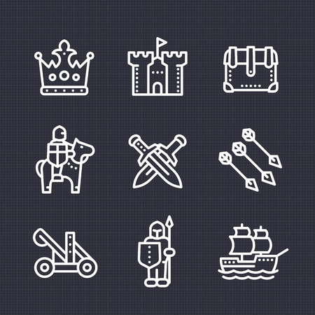catapult: medieval war line icons set, knight, spearman, horseman, crown, castle, catapult, siege, sailing vessel