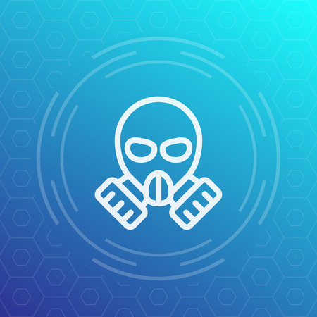 toxicant: gas mask linear icon Illustration
