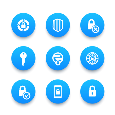 unprotected: Security icons set, secure transaction, key, lock, shield, online safety