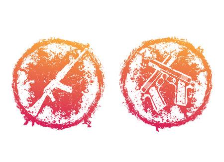 grunge round emblems, t-shirt prints with pistols, handguns and assault rifle over white Illustration