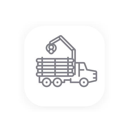 logging: Forwarder line icon, forestry vehicle, logging truck Illustration