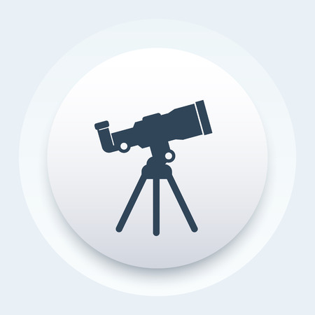 telescope icon, space observation, astronomy, stargazing, vector illustration Illustration