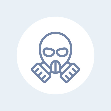 toxicant: gas mask line icon isolated on white Illustration